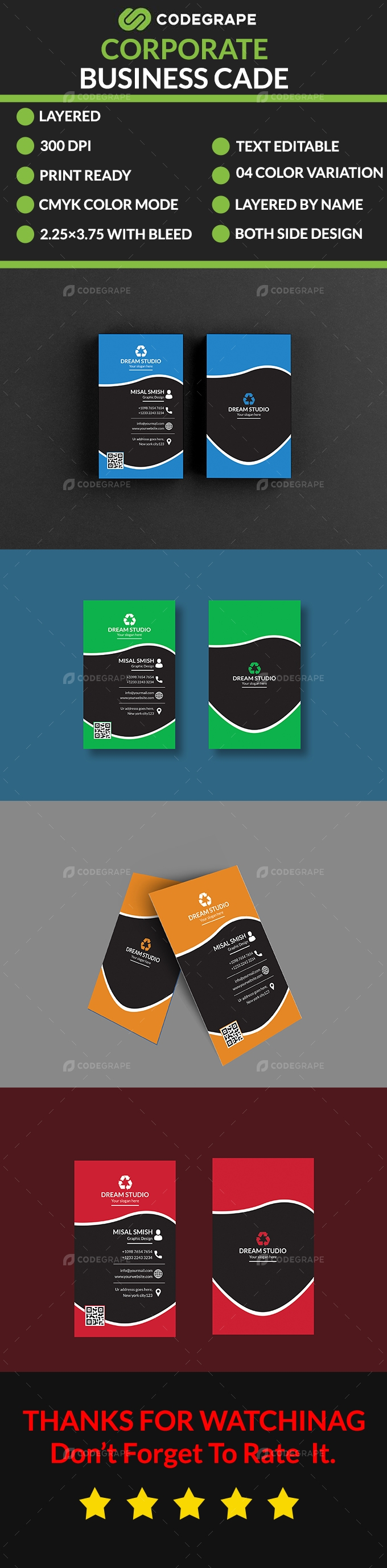 Corporate Vertical Business Card
