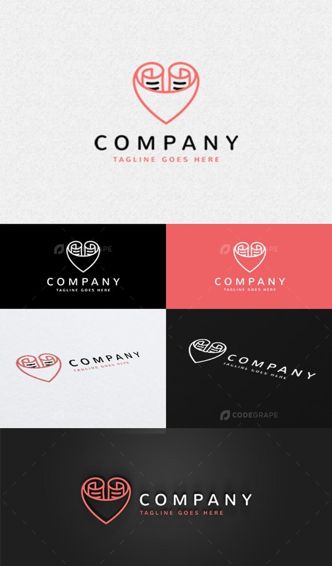 Heart Paper Logo Template