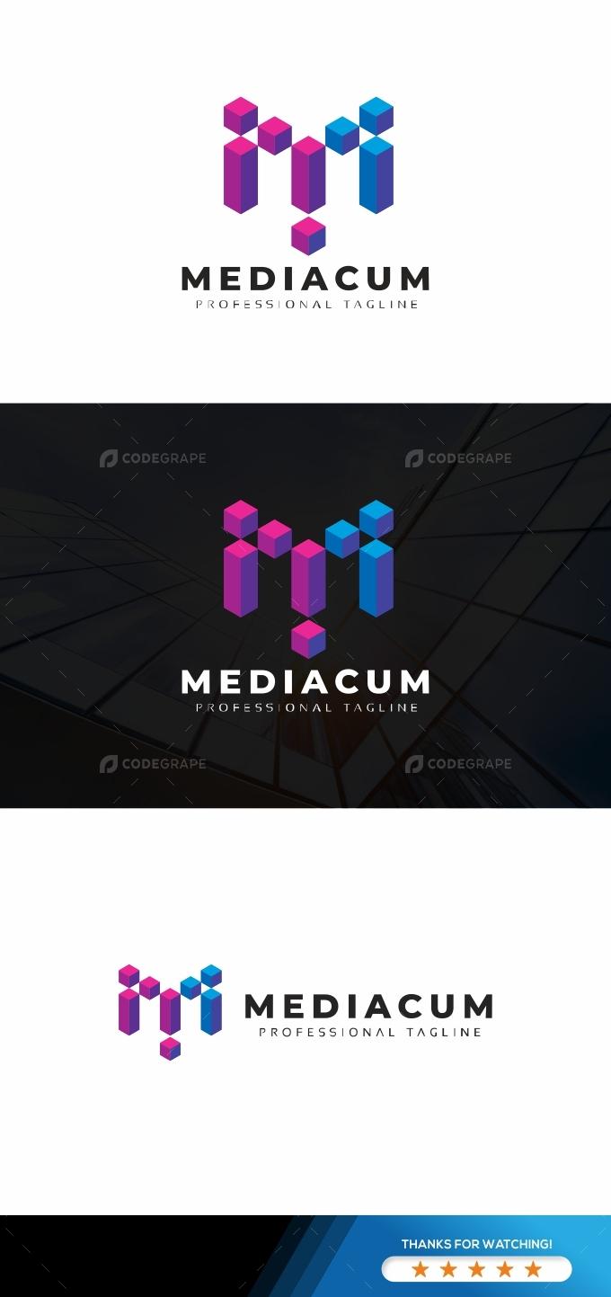 Mediacum M Letter Colorful Logo