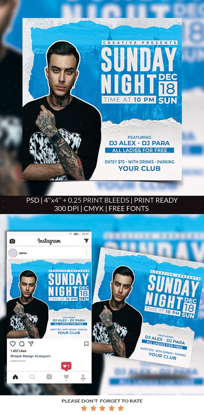 Sunday Night Party Flyer