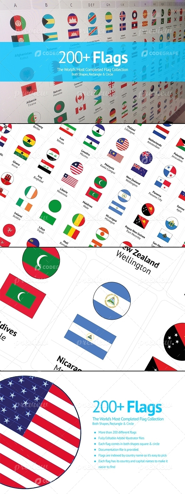 200+ Flags From Around The World | Flat Vector Circle Rectangle Icons