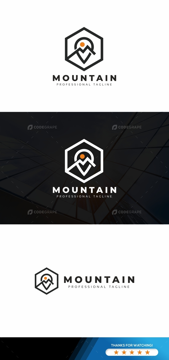 Mountain M Letter Logo Template