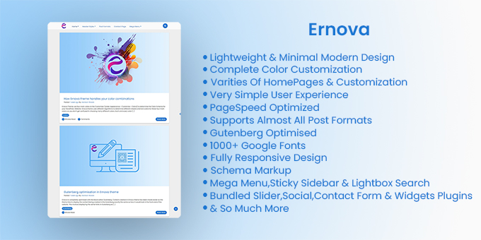 Ernova - Lightweight & Minimal Blog for WordPress