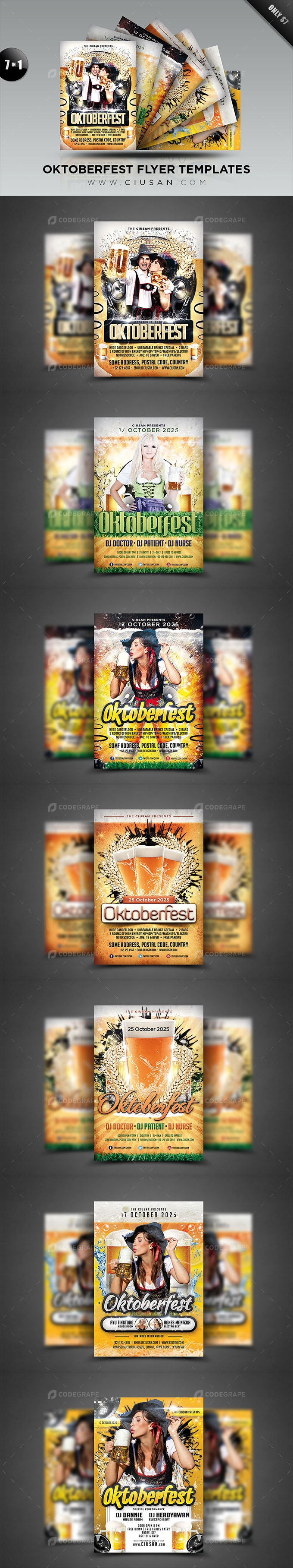 Oktoberfest Flyer Template Bundle (7 in 1)