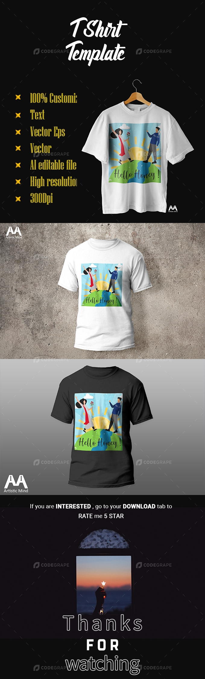 T Shirt Template Hello Honey