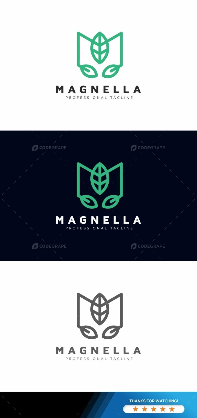 M Letter Leaves Logo