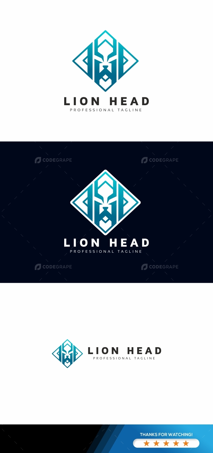 Lion Head Square Logo