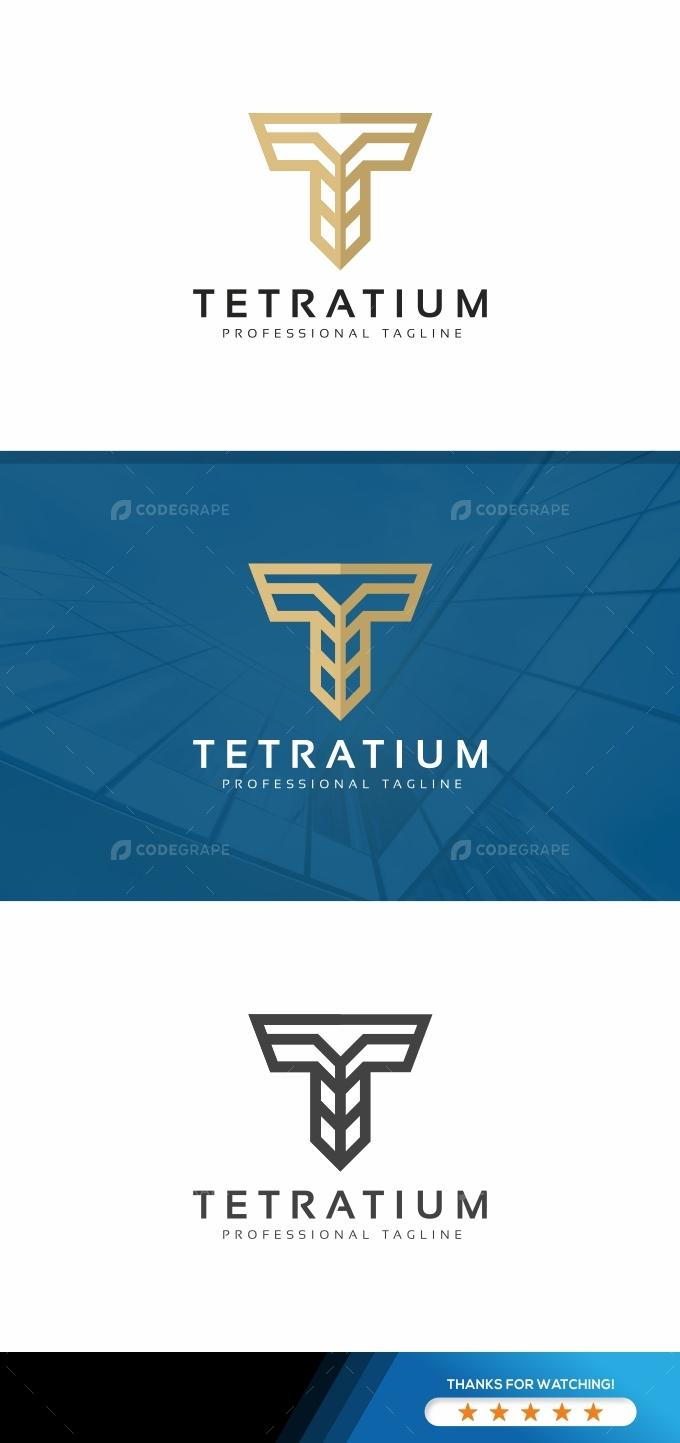 Tetratium T Letter Logo