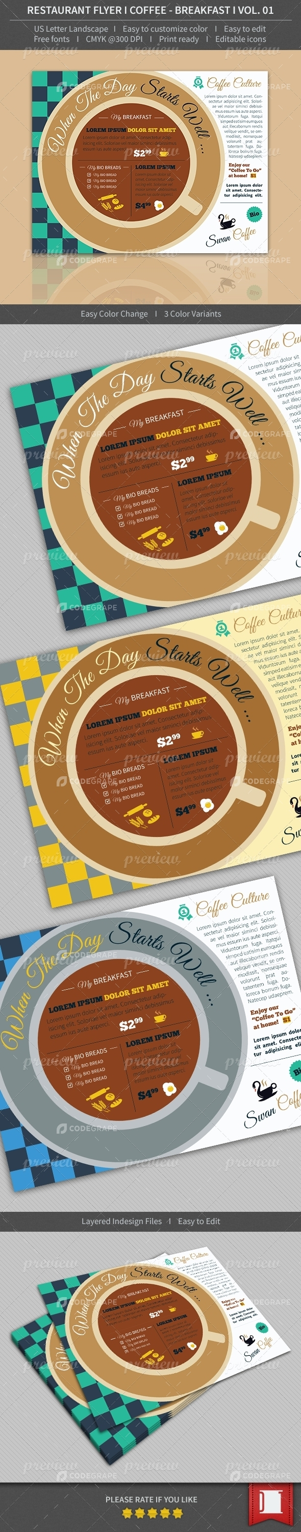 Restaurant Flyer - Coffee / Breakfast - Volume 01