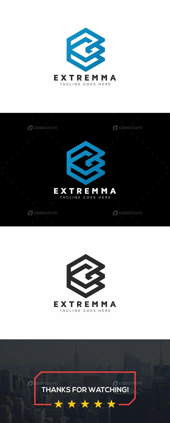 E Letter Hexagon Logo