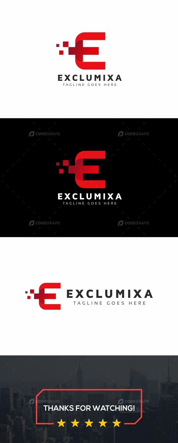 E Letter Digital Pixel Logo