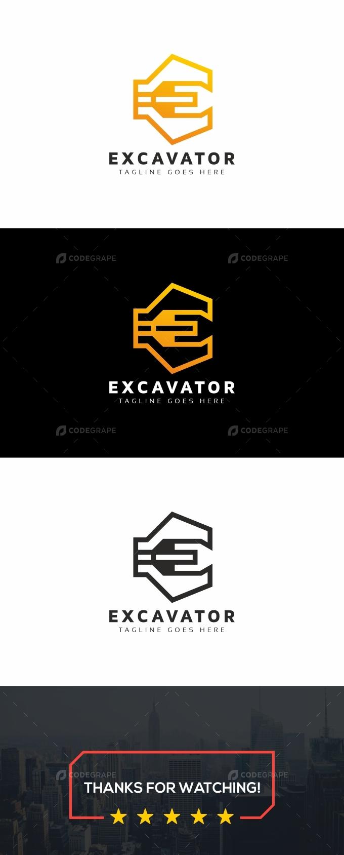 Excavator E Letter Logo