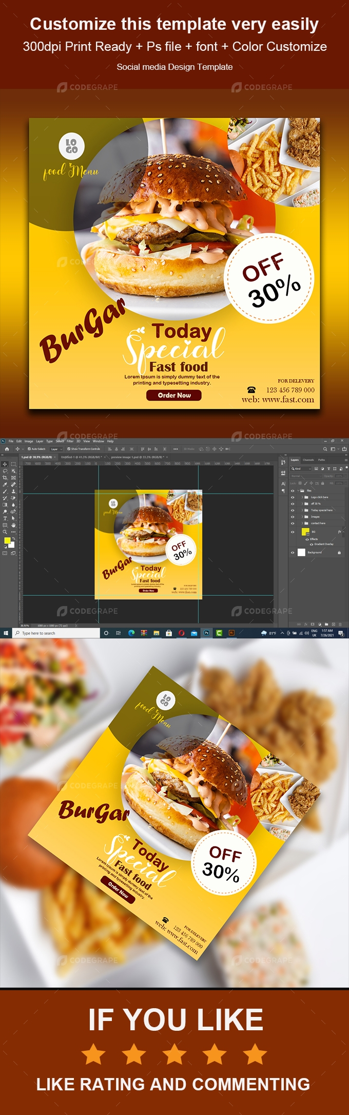 Fast Food Banners or Social Media Posts