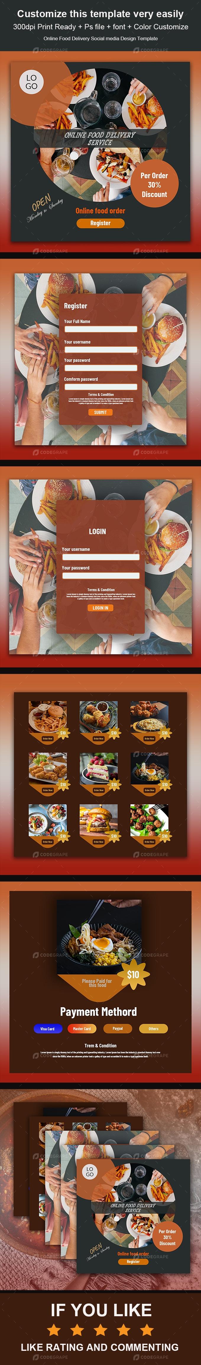 Online Food Delivery Social Media Design Template
