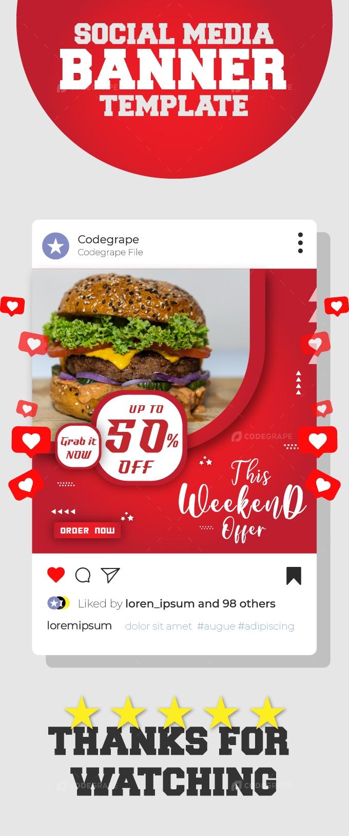 Weekend Sale Food Promotional Banner