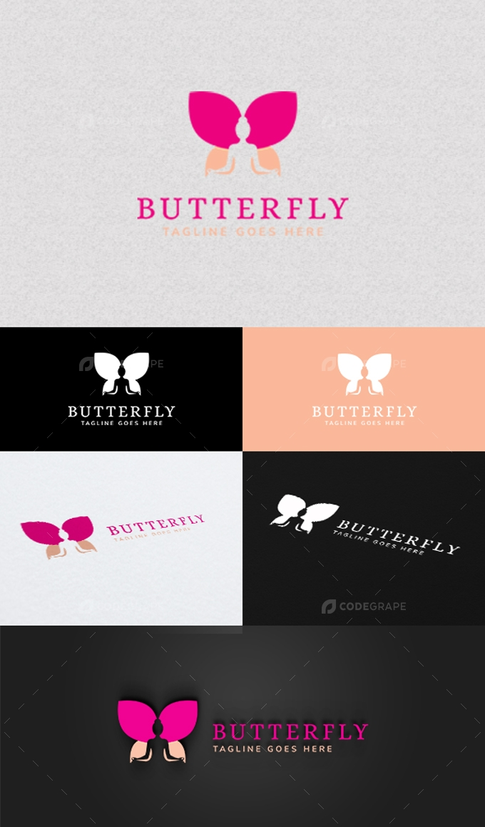 Yoga Butterfly Logo Template