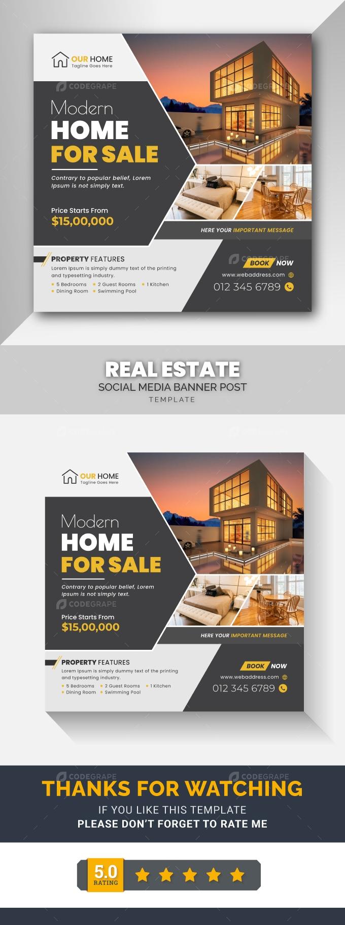 Modern Real Estate Social Media Post Banner Template