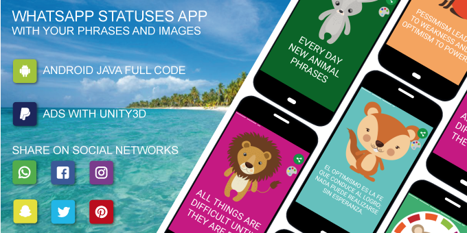 WhatsApp Statuses Application With Your Phrases And Images | Android Java Code