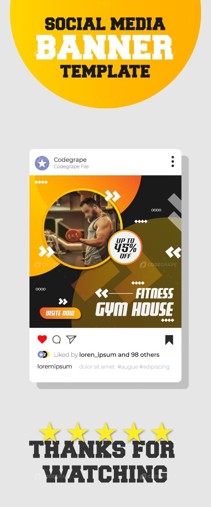 Fitness House Instagram Banner Template