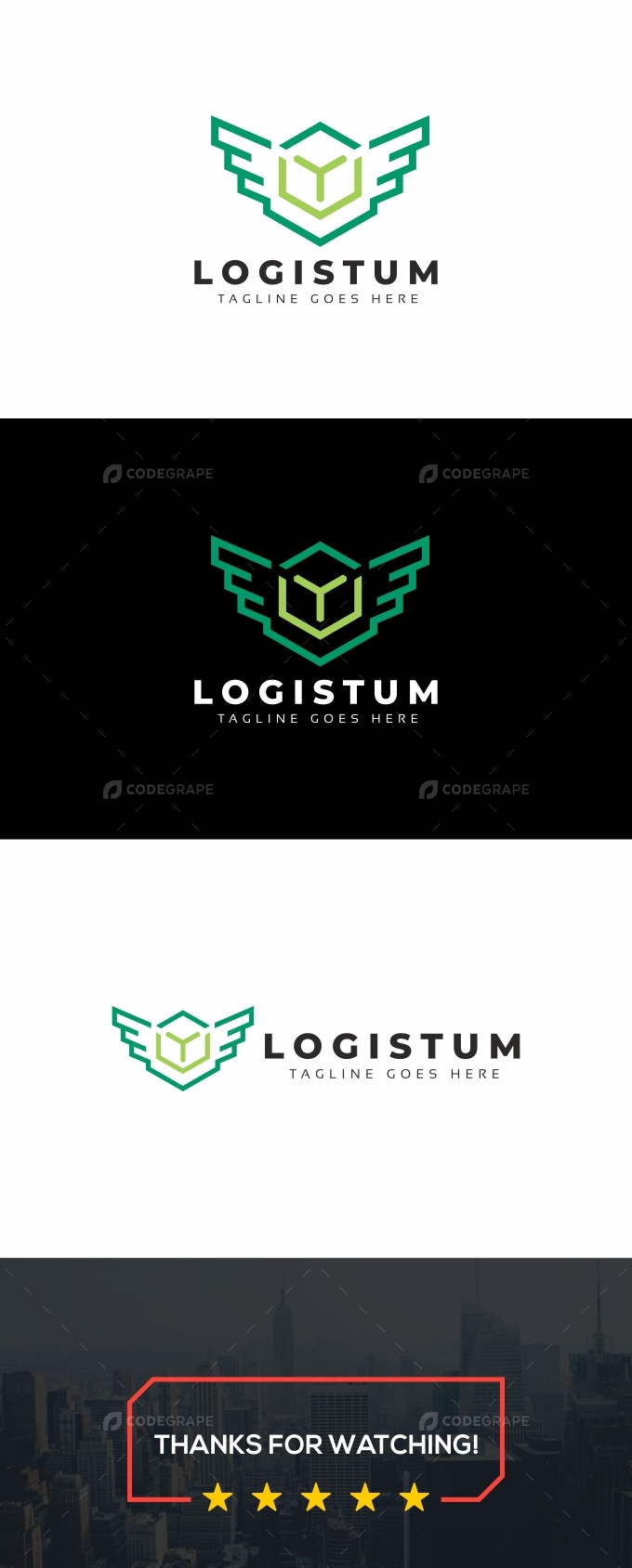 Logistics Hexagon Wings Logo