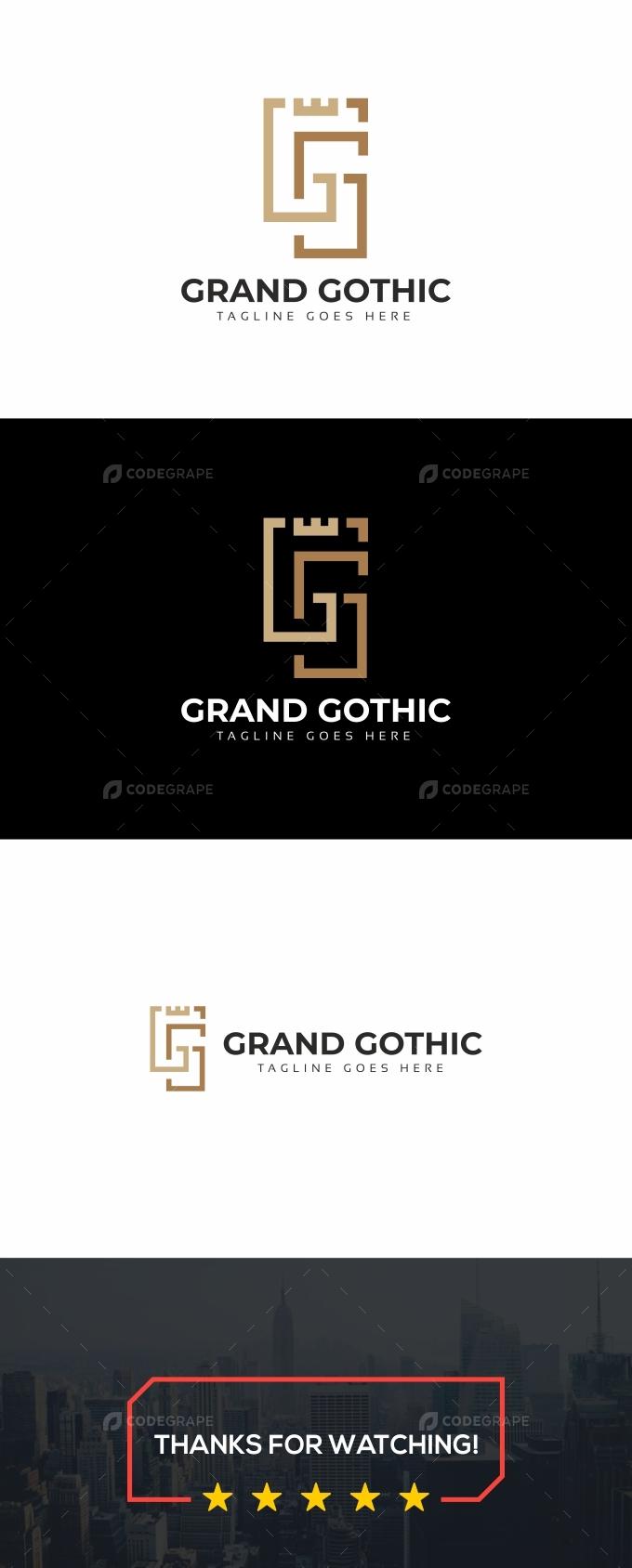 Grand Gothic GG Letter Logo
