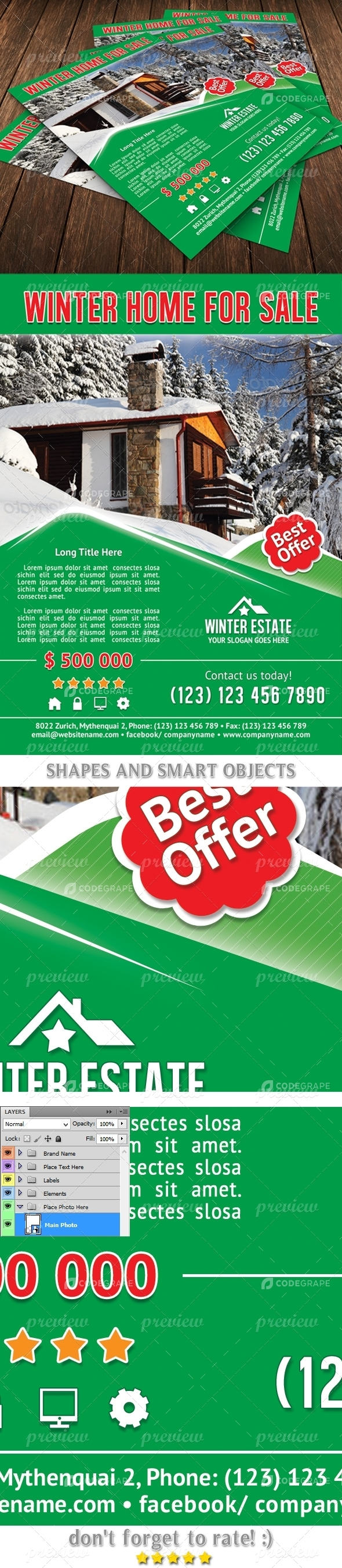 Winter Real Estates Flyer Template