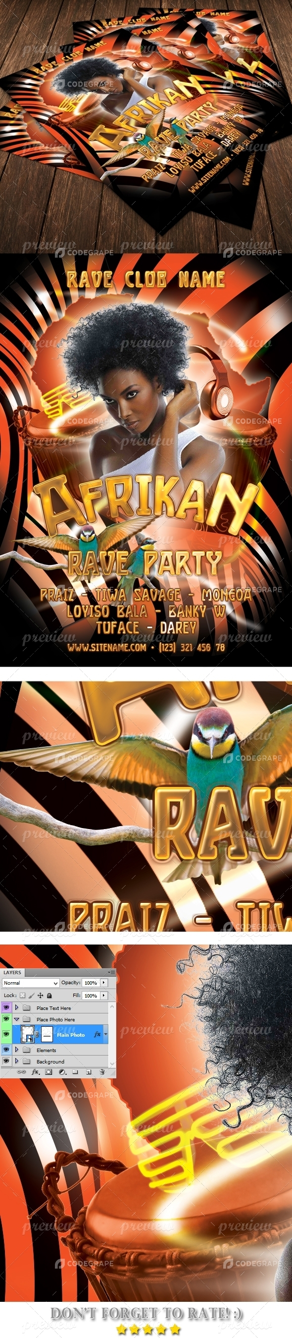 Rave Party Flyer Template
