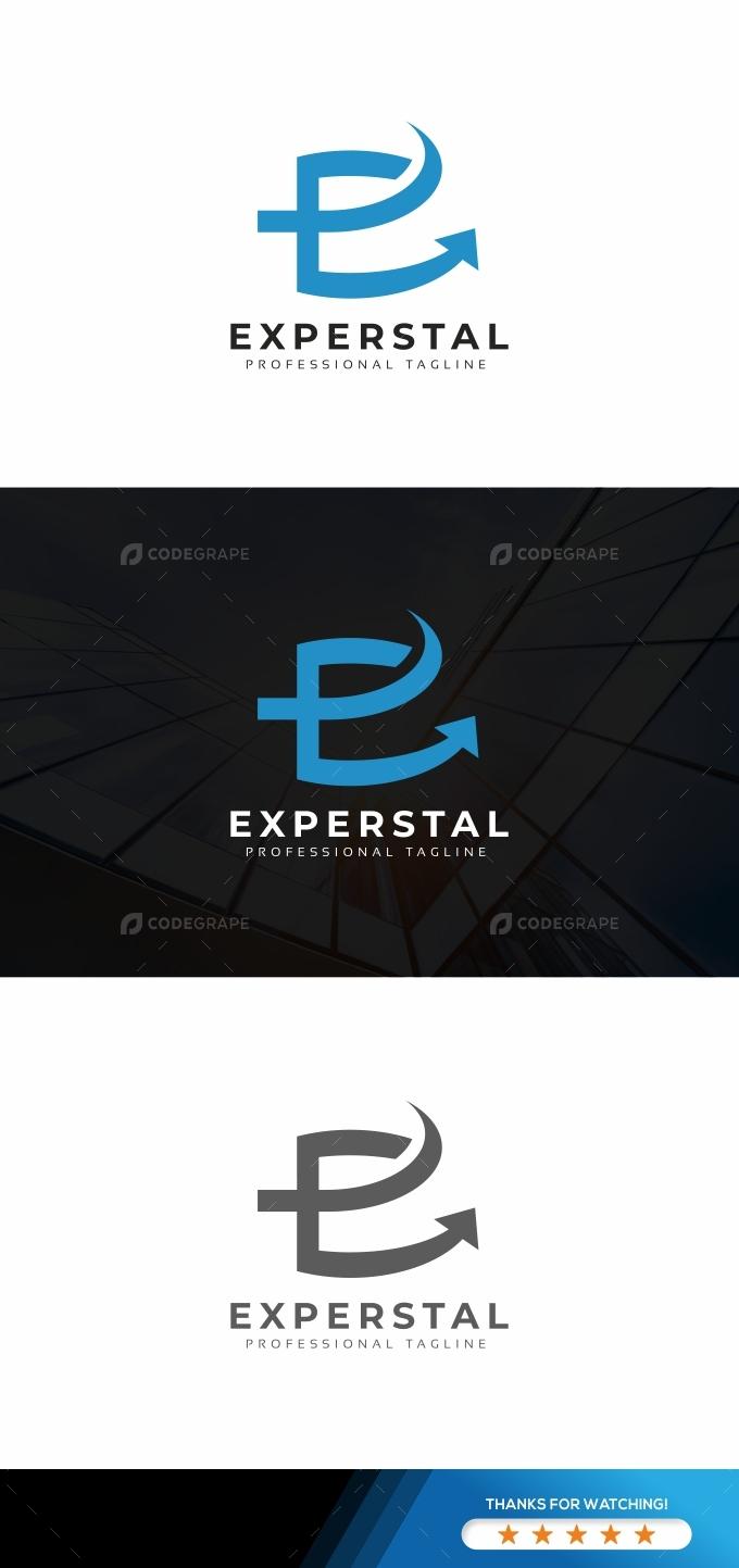 Experstal E Letter Logo