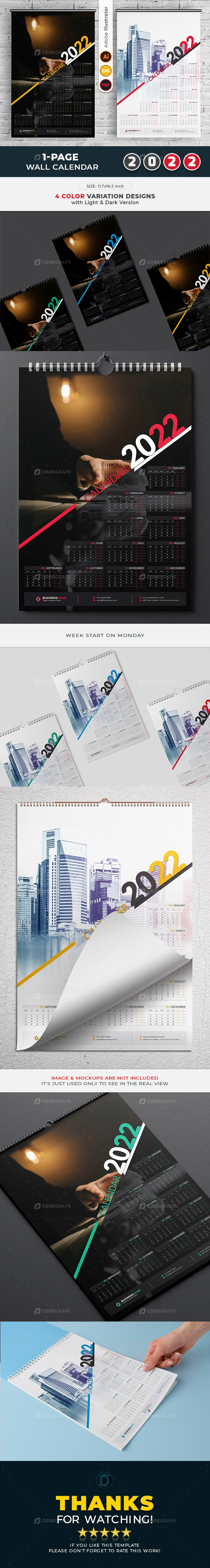 1-Page Wall Calendar 2022 template