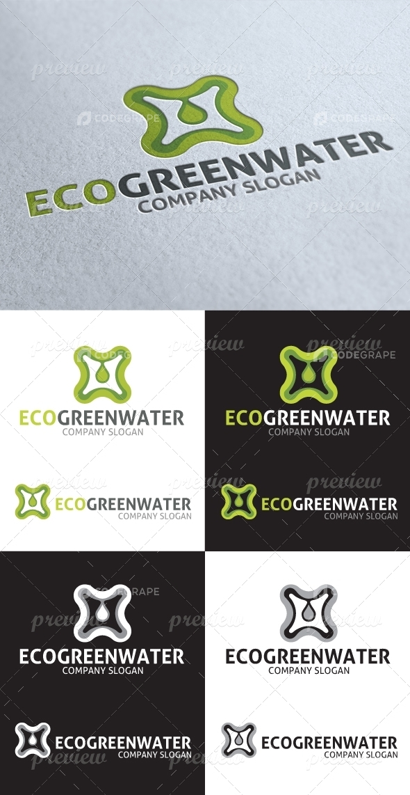 Abstract Eco Green Water Logo