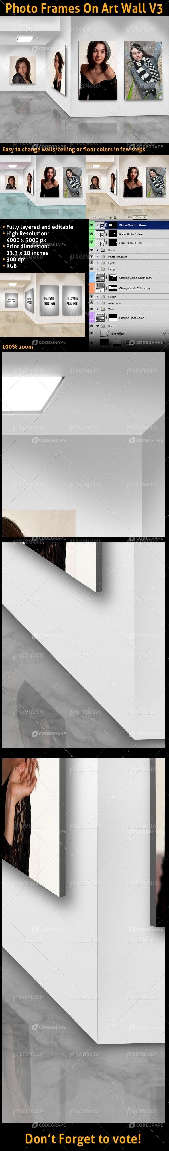 Photo Frames On Art Wall V3