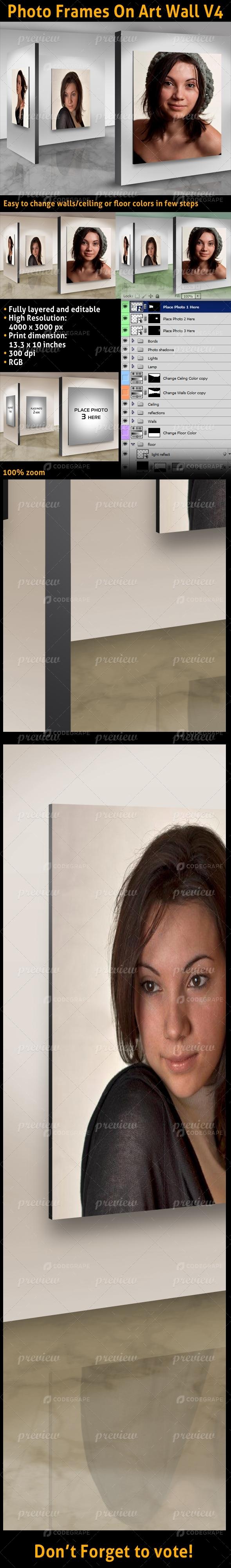Photo Frames On Art Wall V4
