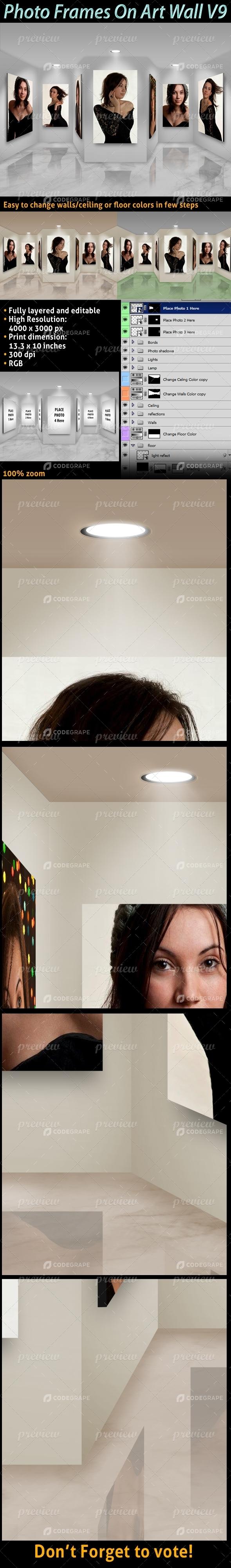 Photo Frames On Art Wall V9