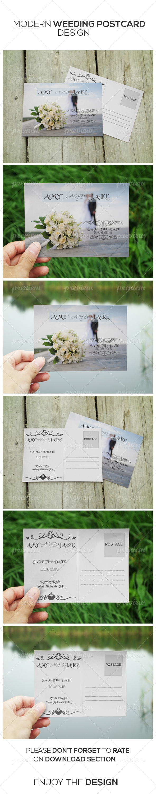 Modern Style Wedding invitation Post Card