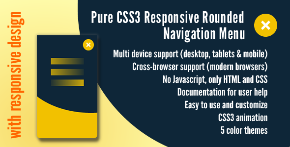 Pure CSS3 Responsive Rounded Navigation Menu