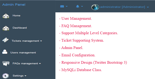 User, Multiple-level FAQ, Ticket System