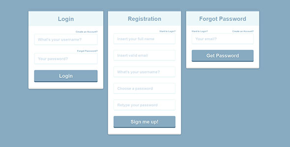 Register - Login - Forgot Password Form