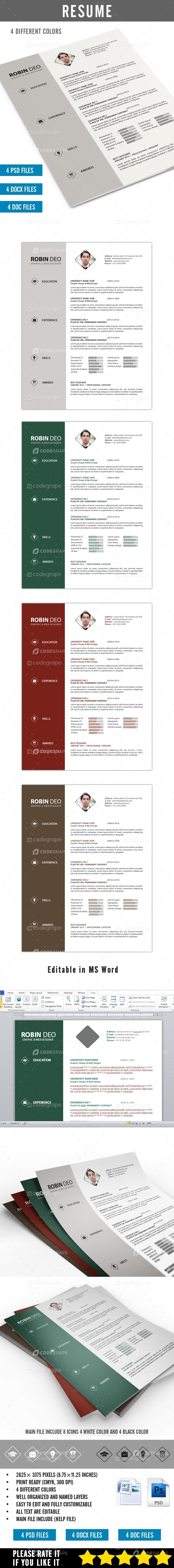 Clean Resume PSD / MS Word