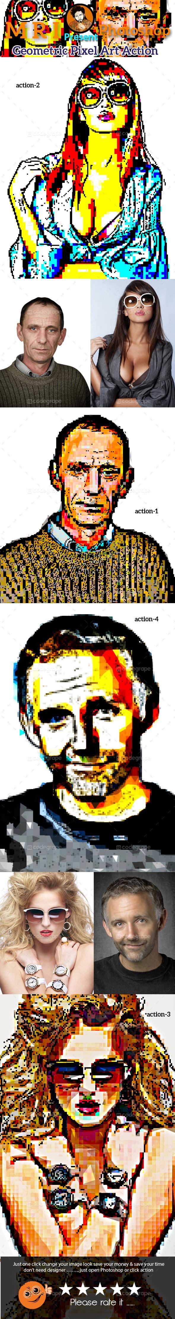 Geometric Pixel Art Action