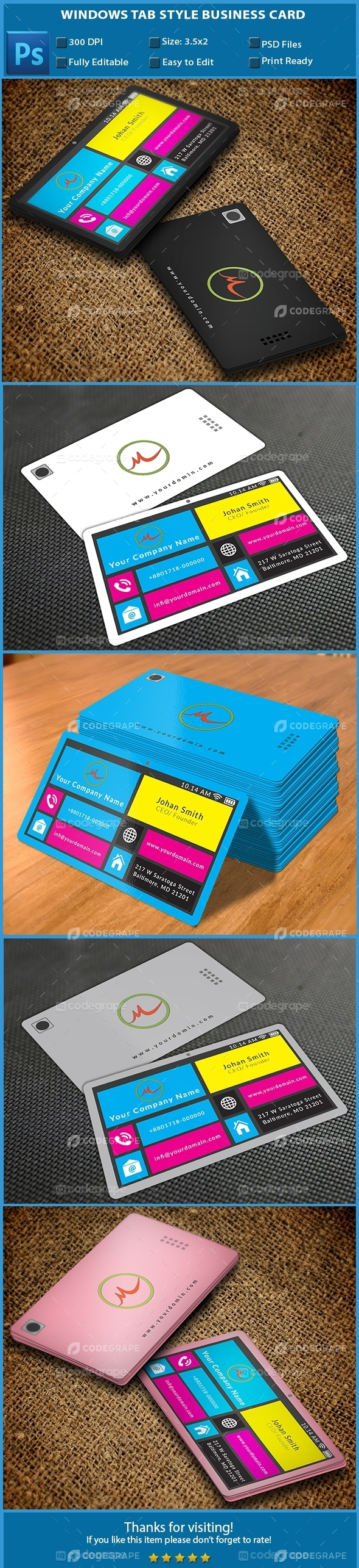 Windows Tab Style Business Card