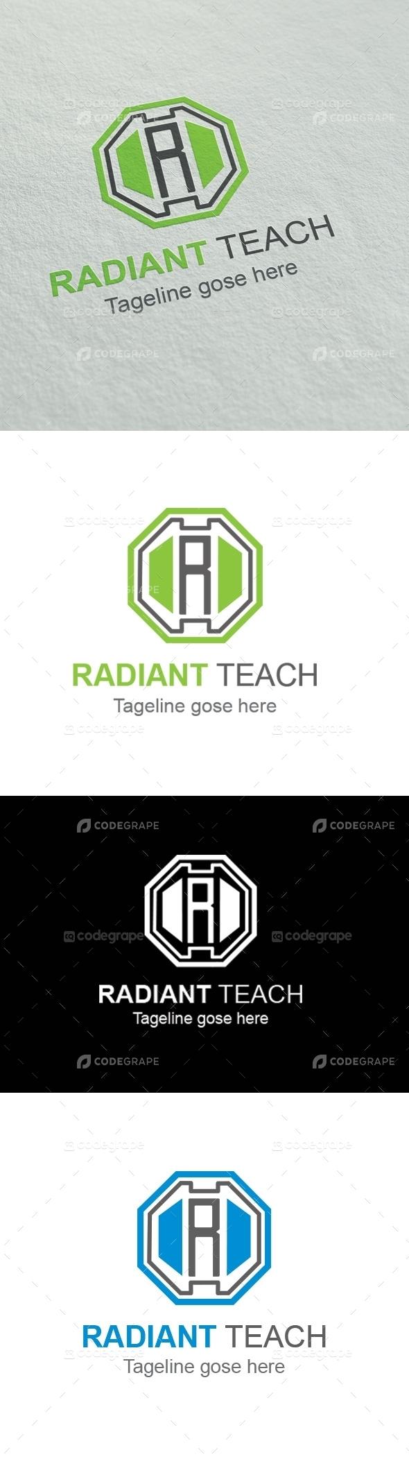 Radiant Teach  R Letter logo