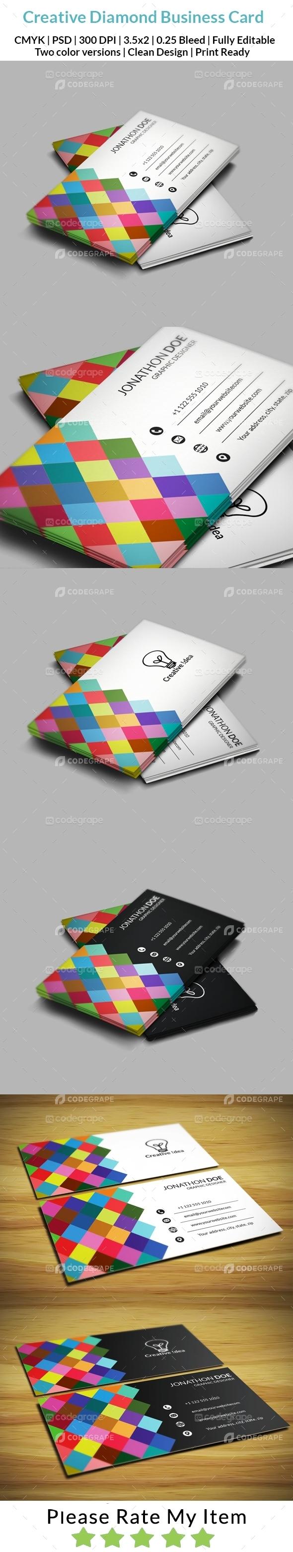 Creative diamond business card print codegrape magicingreecefo Choice Image