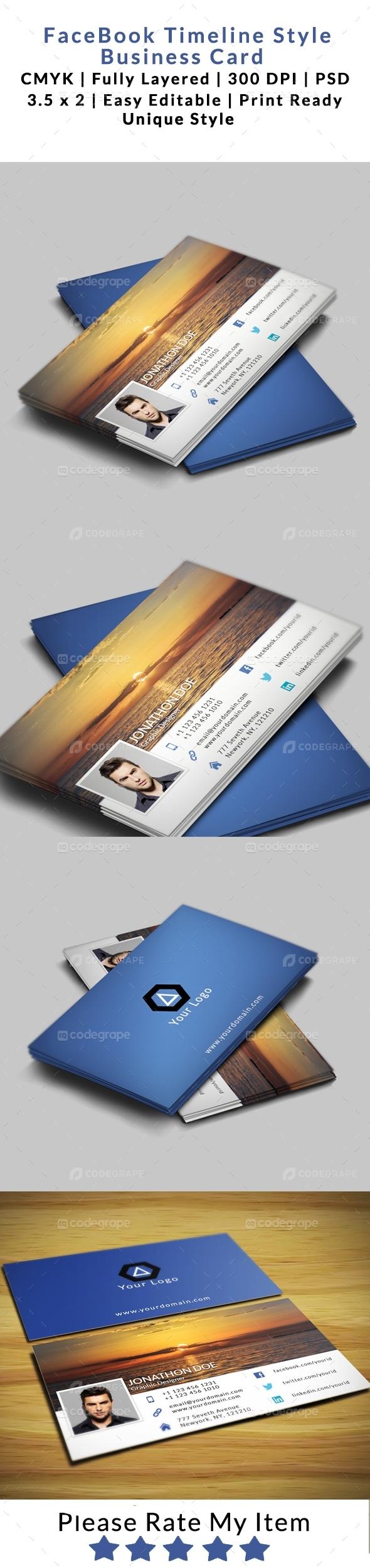 FaceBook Timeline Style Business card