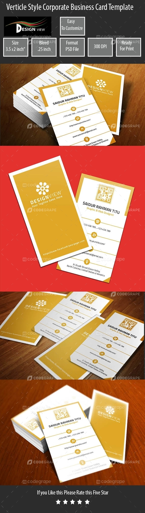 Verticle Style Corporate Business Card Template