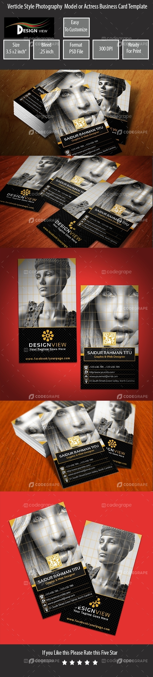 Verticle Style Photography Model or Acrtress Business Card Template