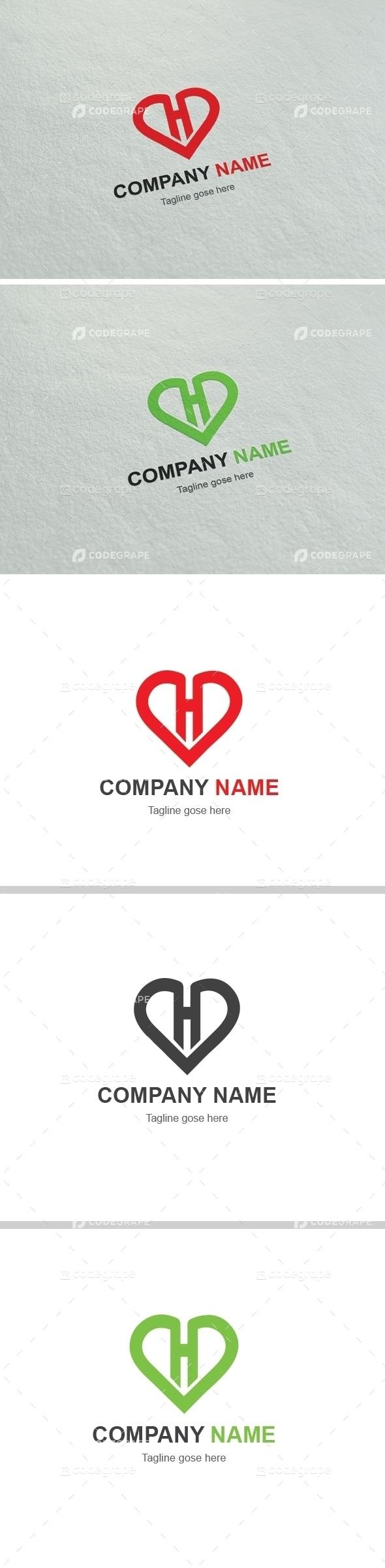Heart H Letter Logo