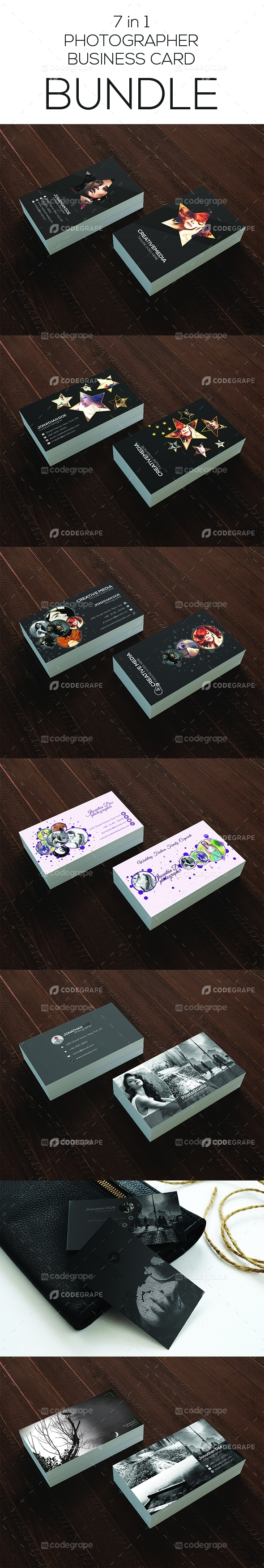 7 in 1 Photographer Business Card Bundle