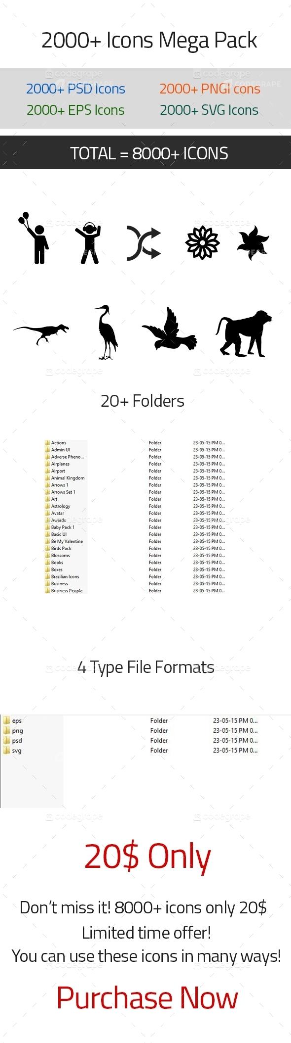 8000+Icons Mega Pack (PSD, PNG, EPS, SVG)