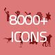 8000+Icons Mega Pack (PSD, PNG, EPS, SVG)