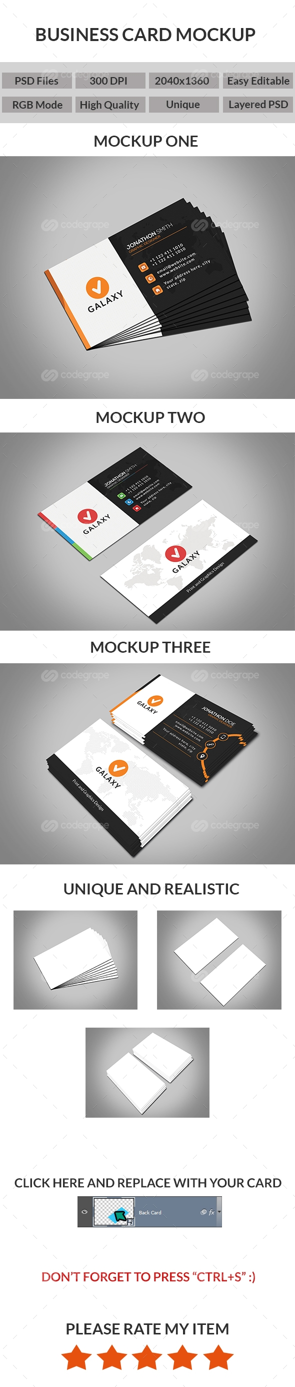 Unique Realistic Business Card Mockups